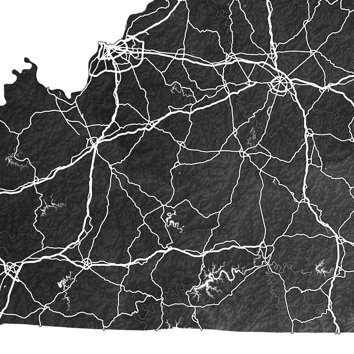 Kentucky state map print close-up with natural landscape and main roads designed by Maps As Art.