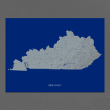 Kentucky Map Print, Navy Landscape