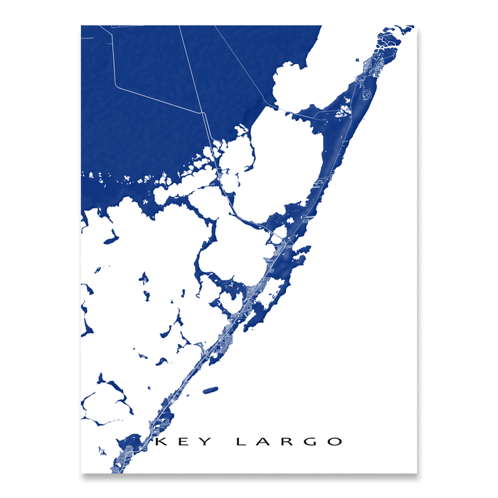 Key Largo, Florida Keys map print with natural landscape and main roads in Navy designed by Maps As Art.