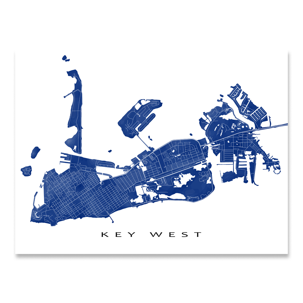 Key West, Florida Keys map print with natural landscape and main roads in Navy designed by Maps As Art.