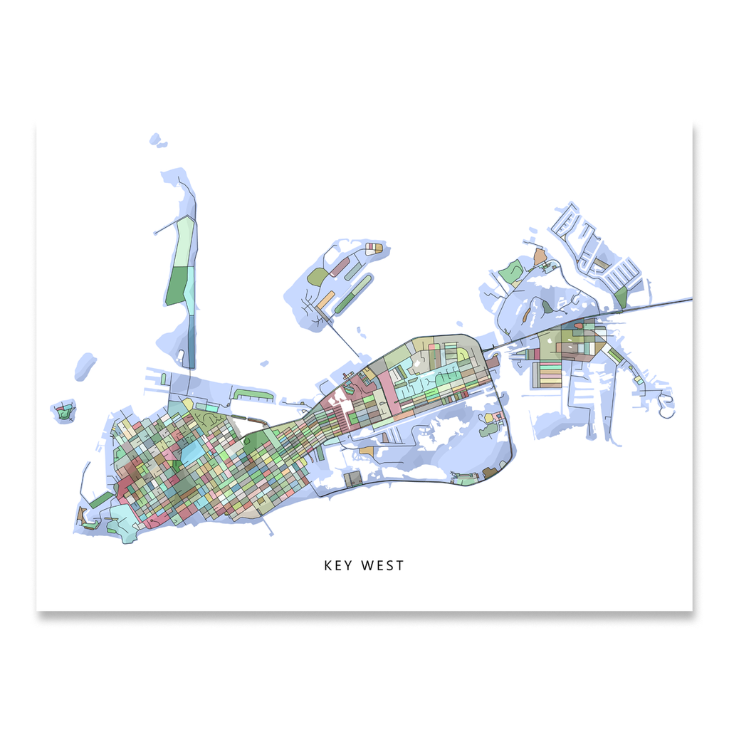 Key West Map Print, Florida Keys, Colorful