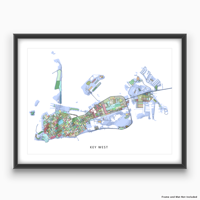 Key West, Florida Keys map art print in colorful shapes designed by Maps As Art.