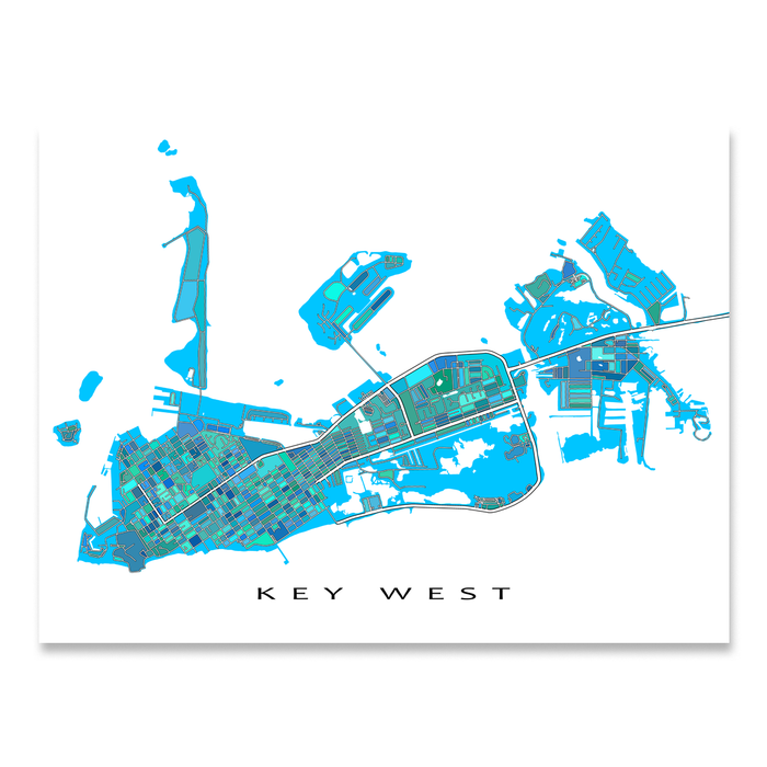 Map Of Florida Keys And Key West.Key West Map Print Florida Keys Florida Usa Maps As Art