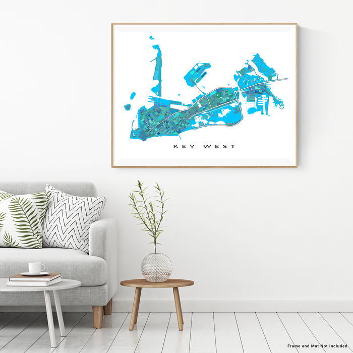 Key West, Florida Keys map art print in blue, aqua, turquoise shapes designed by Maps As Art.