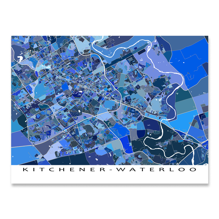Kitchener - Waterloo, Ontario, Canada map art print in blue shapes designed by Maps As Art.
