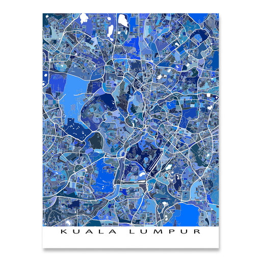 Kuala Lumpur, Malaysia map art print in blue shapes designed by Maps As Art.