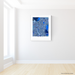 Kyoto, Japan map art print in blue shapes designed by Maps As Art.