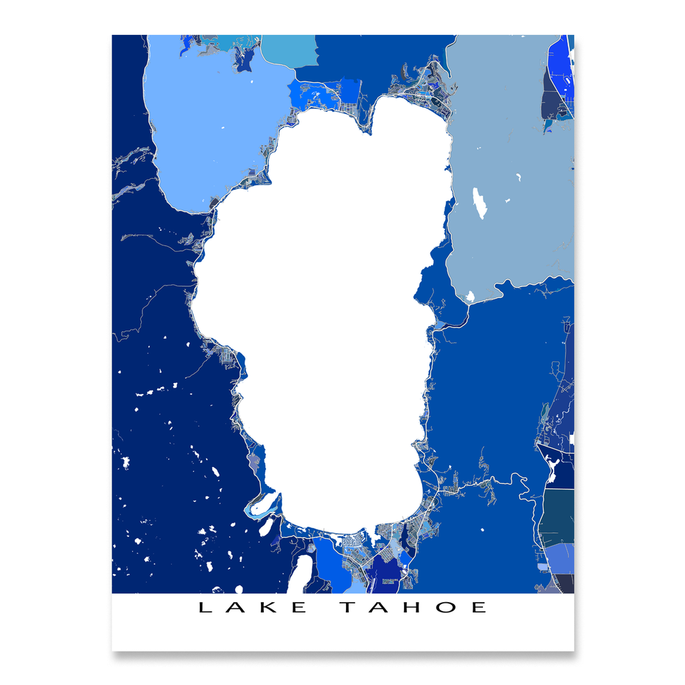 Lake Tahoe Map Print, California, Nevada, USA