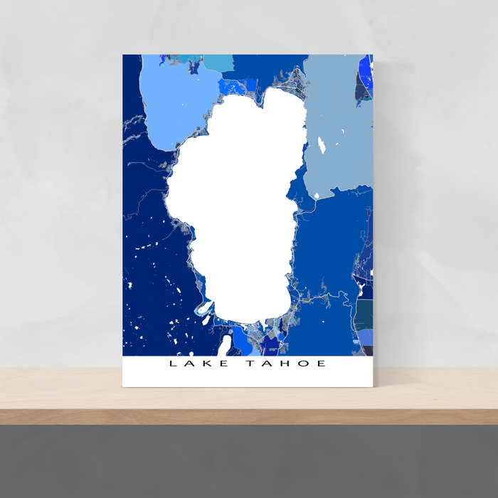Lake Tahoe, California map art print in blue shapes designed by Maps As Art.
