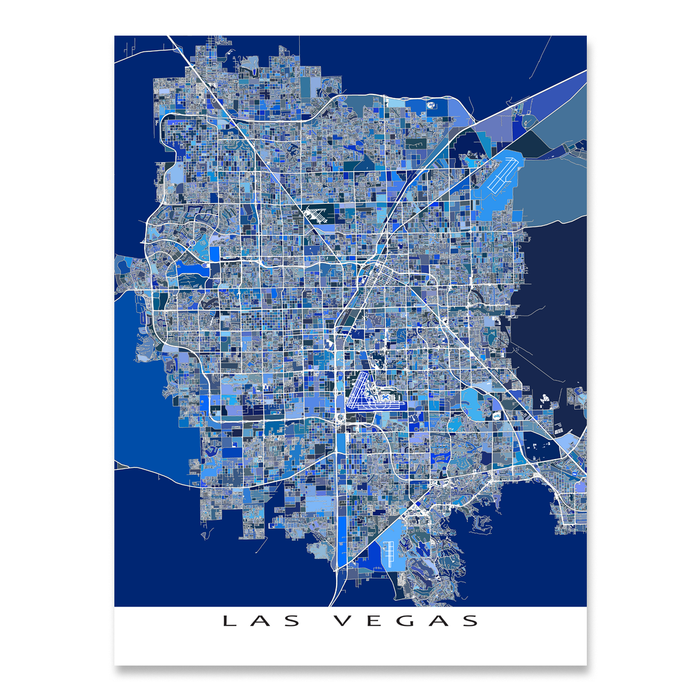 Las Vegas valley, Nevada map art print in blue shapes designed by Maps As Art.