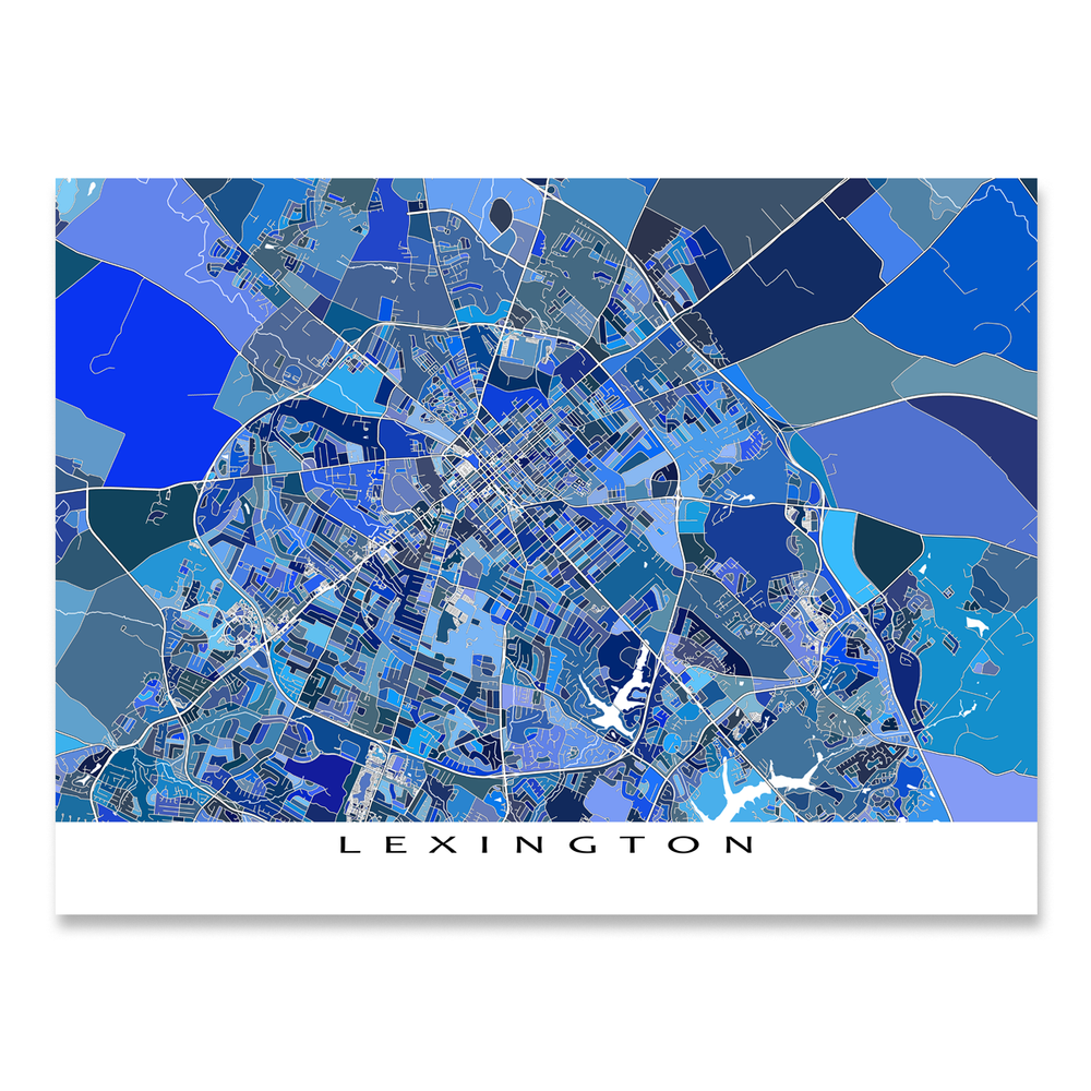 Lexington, Kentucky map art print in blue shapes designed by Maps As Art.