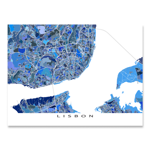 Lisbon, Portugal map art print in blue shapes designed by Maps As Art.