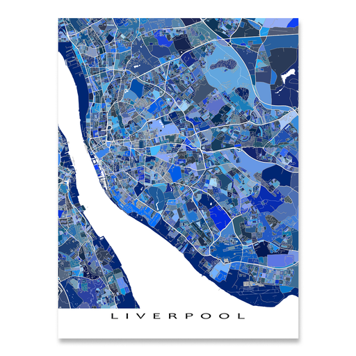 Liverpool, England map art print in blue shapes designed by Maps As Art.