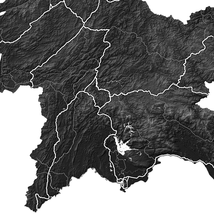 Laos map print close-up with natural landscape and main roads designed by Maps As Art.