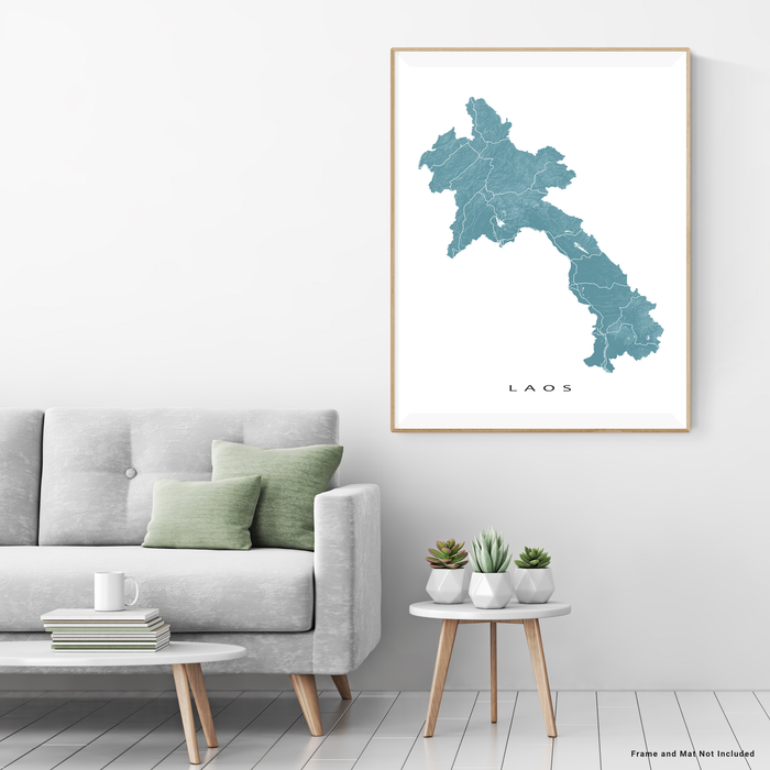 Laos map print with natural landscape and main roads in Marine designed by Maps As Art.
