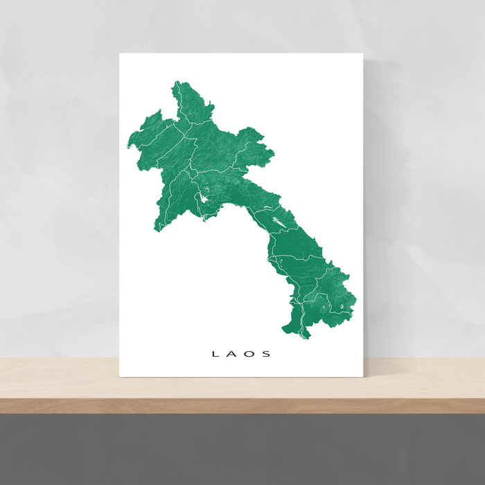 Laos map print with natural landscape and main roads in Green designed by Maps As Art.