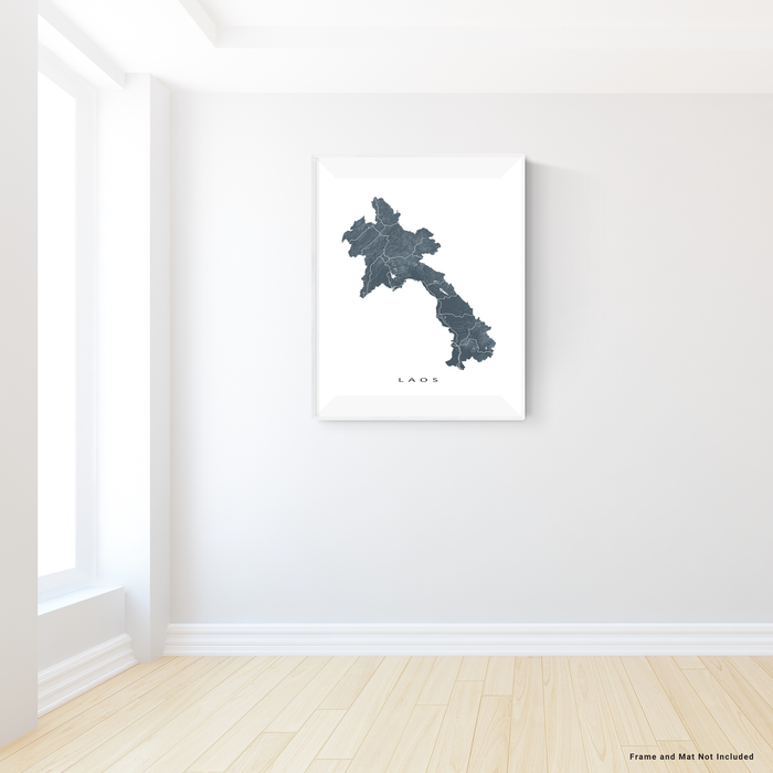 Laos map print with natural landscape and main roads in Slate designed by Maps As Art.