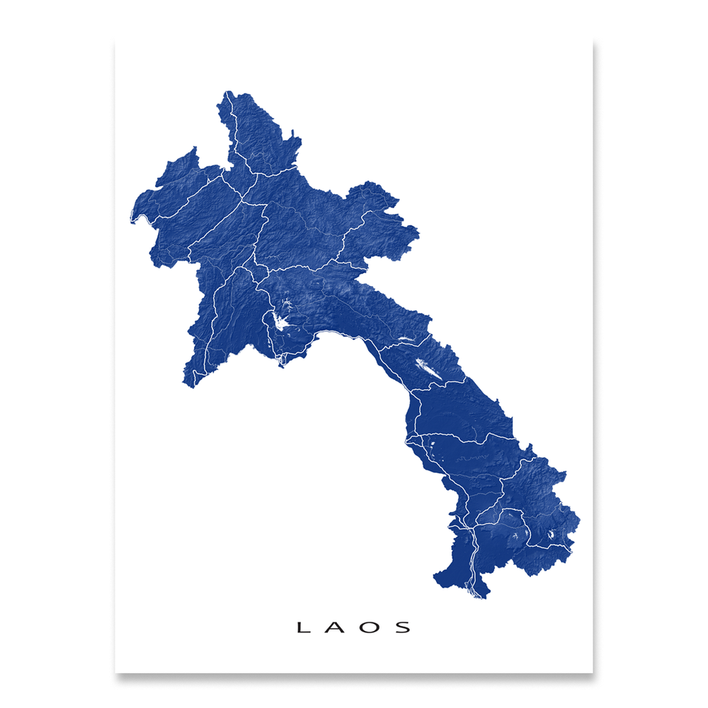 Laos map print with natural landscape and main roads in Navy designed by Maps As Art.