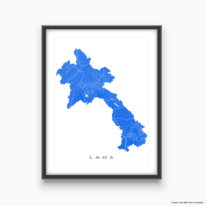 Laos map print with natural landscape and main roads in Blue designed by Maps As Art.