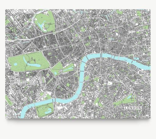 London, England map art print with city streets and buildings designed by Maps As Art.