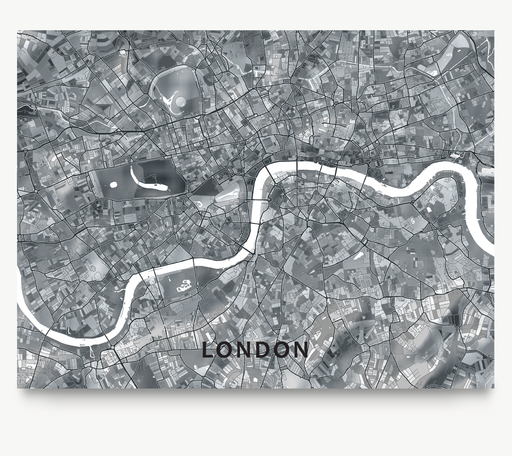 Maps As Art London black and white shapes map print.