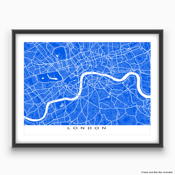 London, England map print with city streets and roads in Blue designed by Maps As Art.