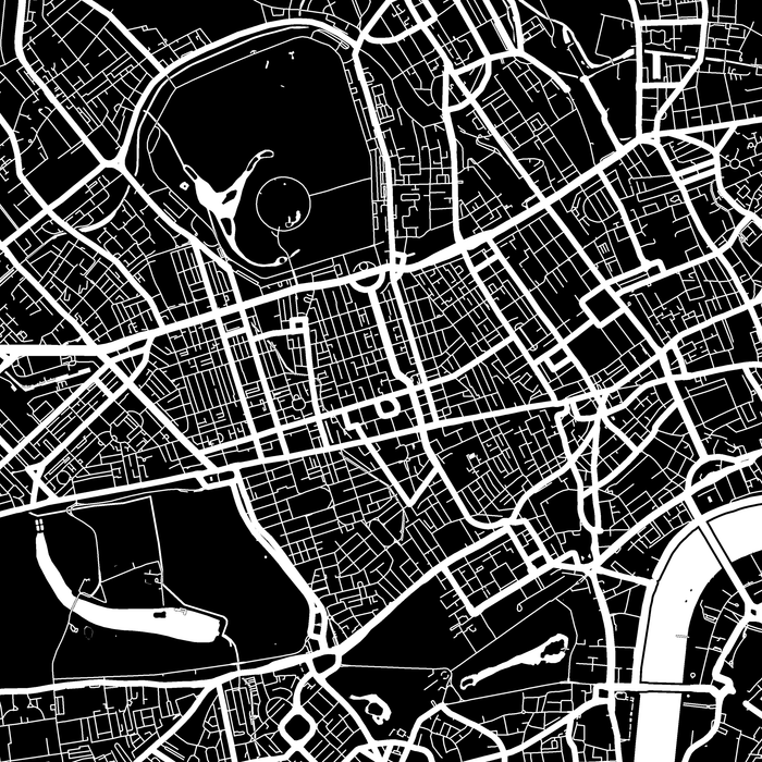London, England map print close-up with city streets and roads designed by Maps As Art.