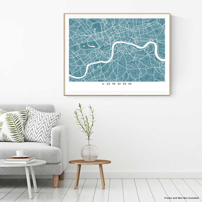 London, England map print with city streets and roads in Marine designed by Maps As Art.