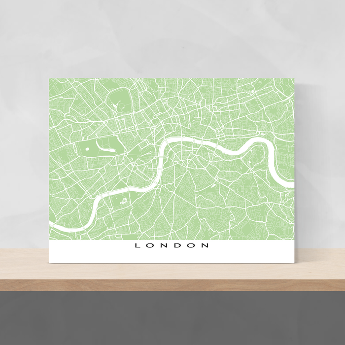 London, England map print with city streets and roads in Sage designed by Maps As Art.