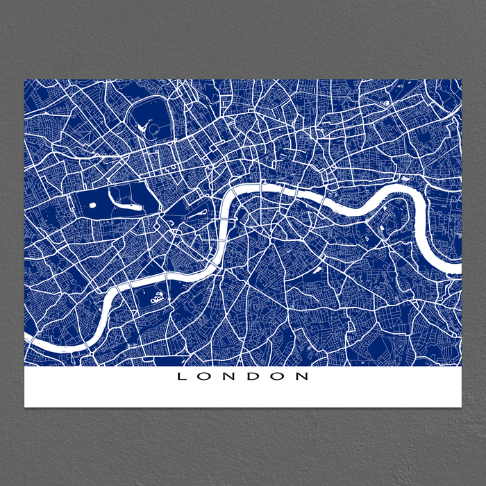 London, England map print with city streets and roads in Navy designed by Maps As Art.