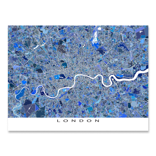 London, England map art print in blue shapes designed by Maps As Art.