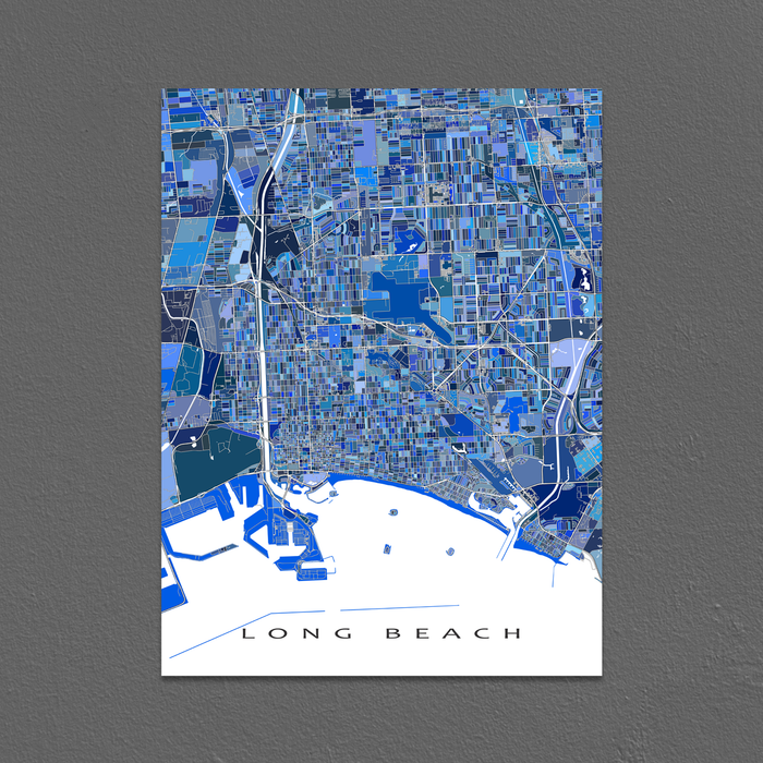 Long Beach CA blue shapes map print by Maps As Art.