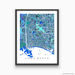 Long Beach, California map art print in blue, aqua and turquoise shapes designed by Maps As Art.