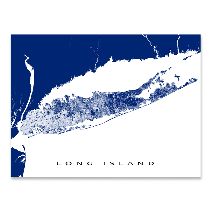 Long Island, New York map print with streets and roads in Navy designed by Maps As Art.