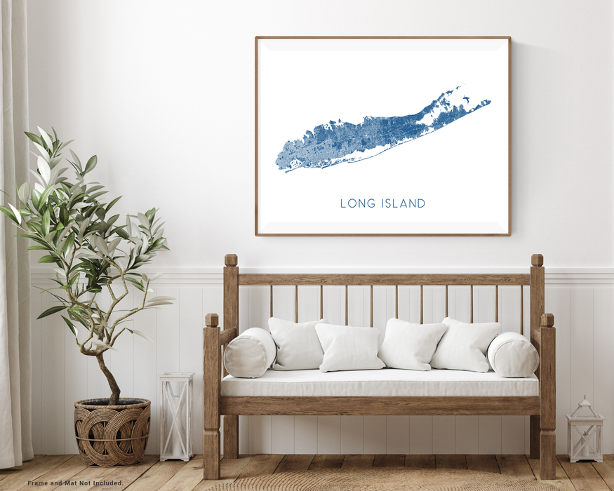 Long Island, New York map print with wooden bench home decor by Maps As Art.