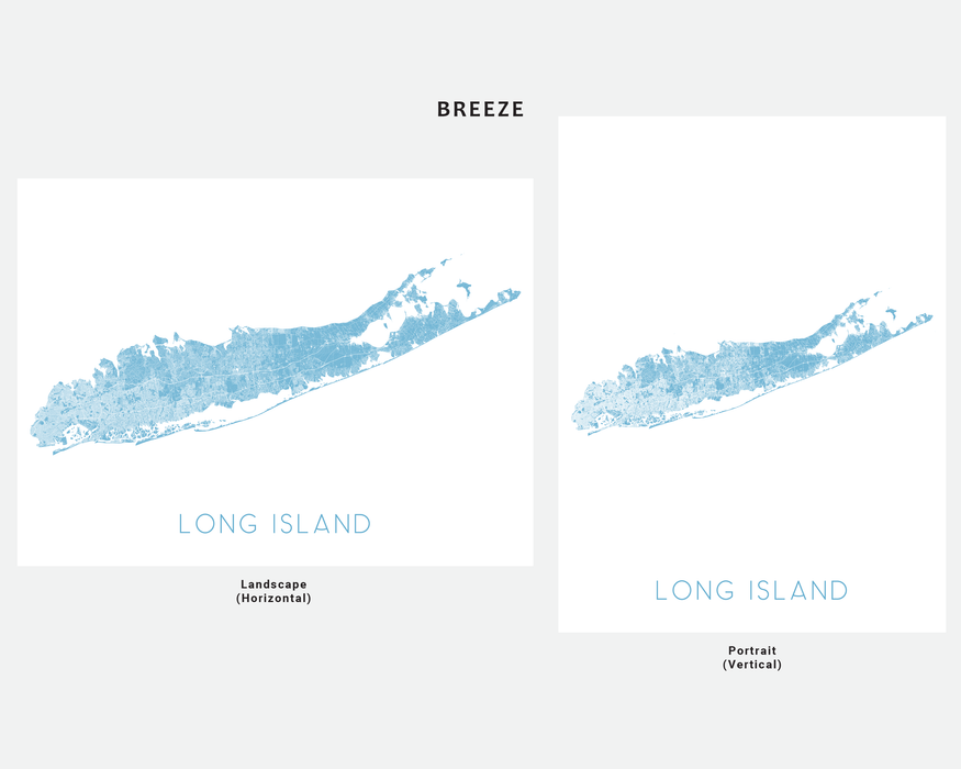 Long Island, New York map print in Breeze by Maps As Art.