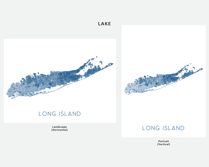 Long Island, New York map print in Lake by Maps As Art.