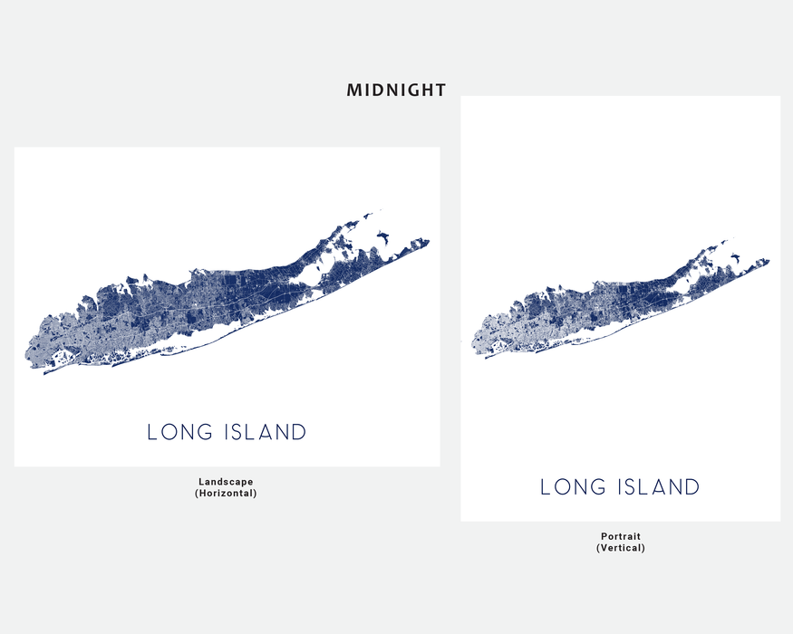 Long Island, New York map print in Midnight by Maps As Art.