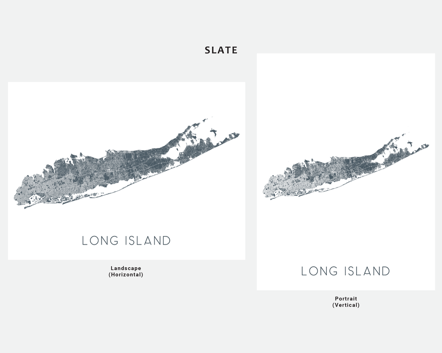 Long Island, New York map print in Slate by Maps As Art.