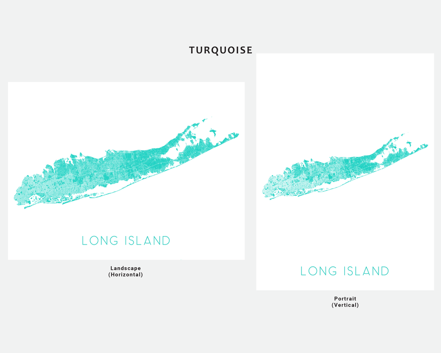 Long Island, New York map print in Turquoise by Maps As Art.