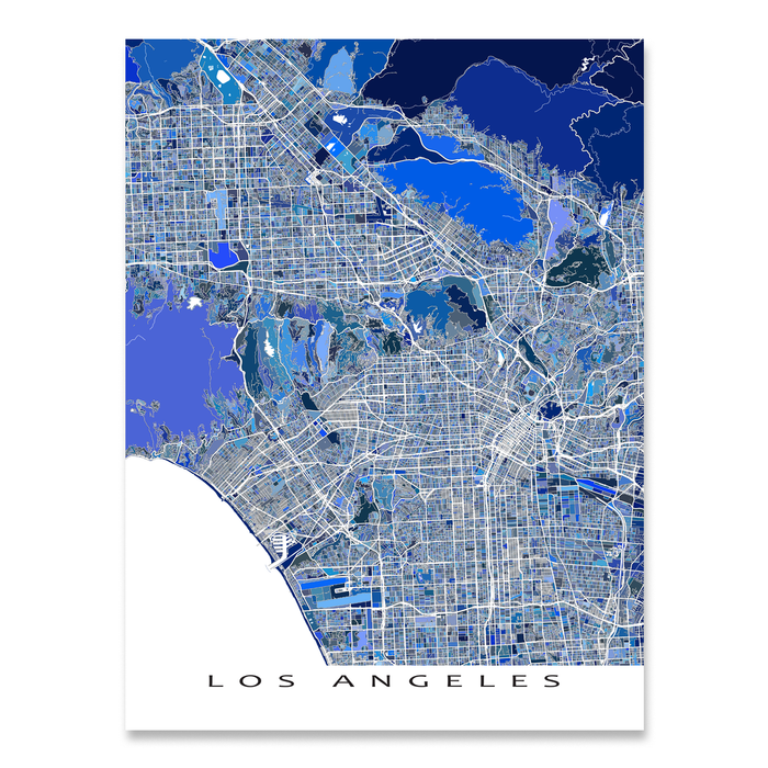 Los Angeles, California map art print in blue shapes designed by Maps As Art.