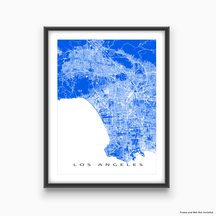 Los Angeles, California map print with city streets and roads in Blue designed by Maps As Art.
