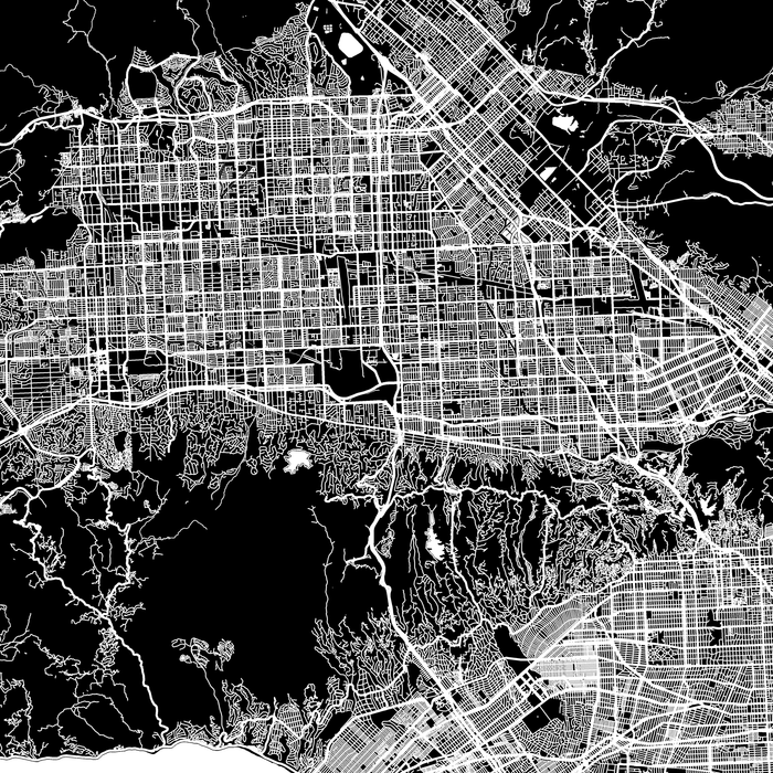 Los Angeles, California map print close-up with city streets and roads designed by Maps As Art.