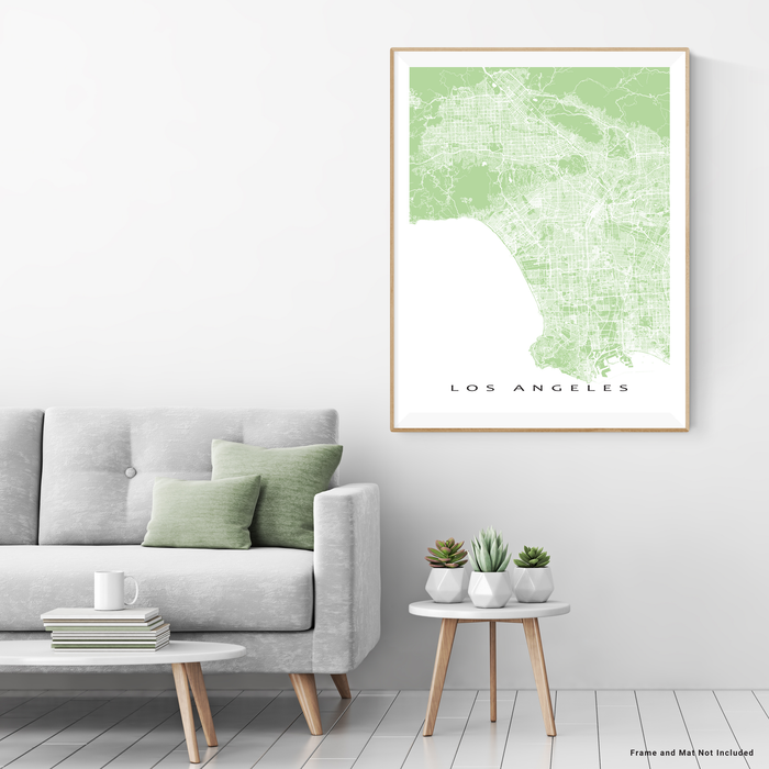 Los Angeles, California map print with city streets and roads in Sage designed by Maps As Art.