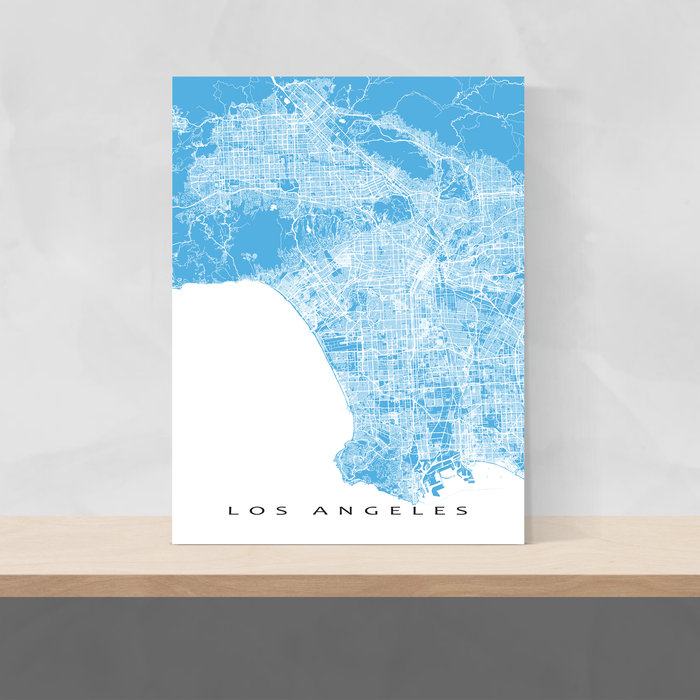Los Angeles, California map print with city streets and roads in Malibu designed by Maps As Art.