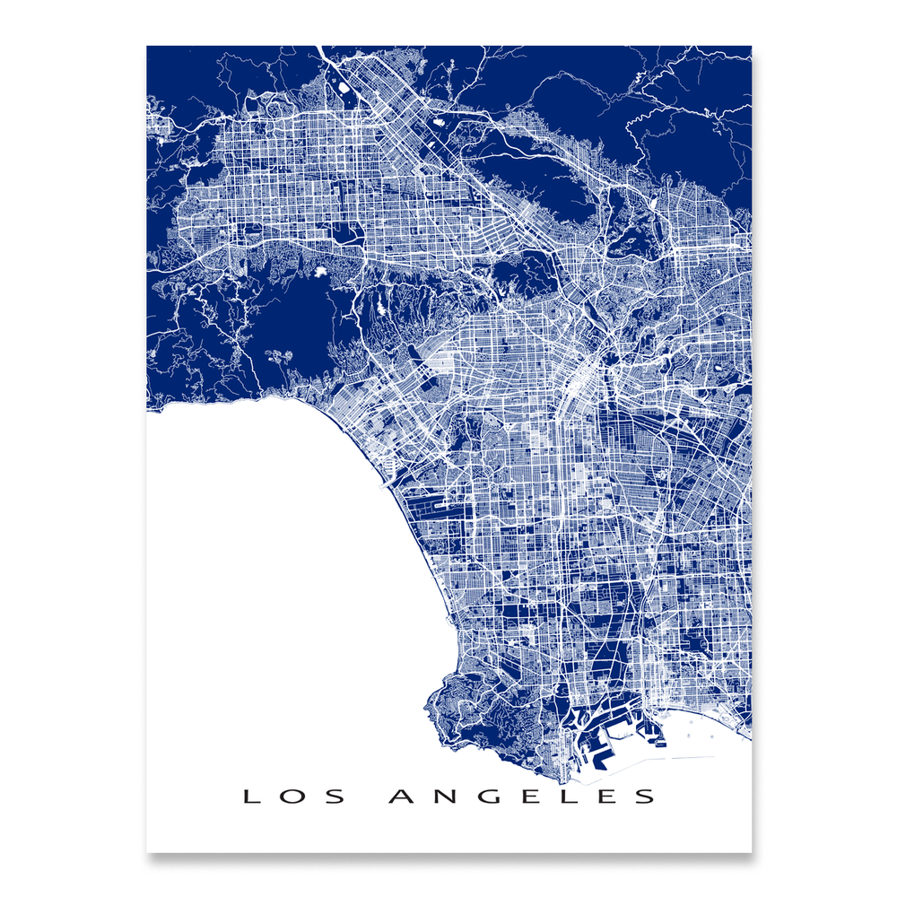 Los Angeles, California map print with city streets and roads in Navy designed by Maps As Art.