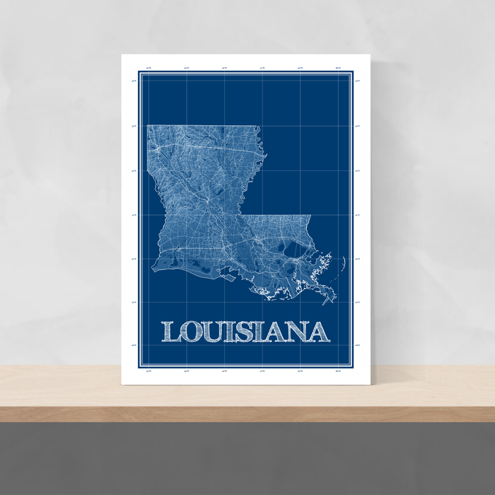 Louisiana state blueprint map art print designed by Maps As Art.