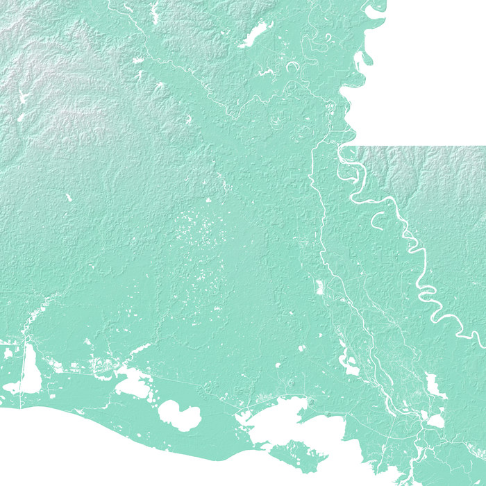 Louisiana state map print with natural landscape in aqua tints designed by Maps As Art.