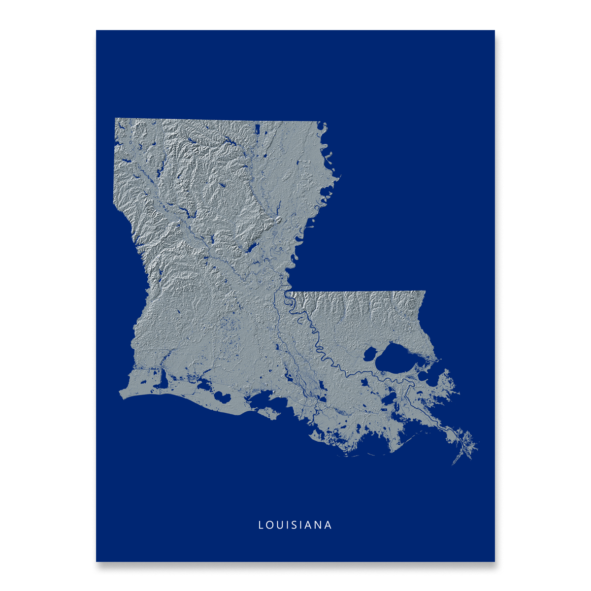 Louisiana state map print with natural landscape in greyscale and a navy blue background designed by Maps As Art.