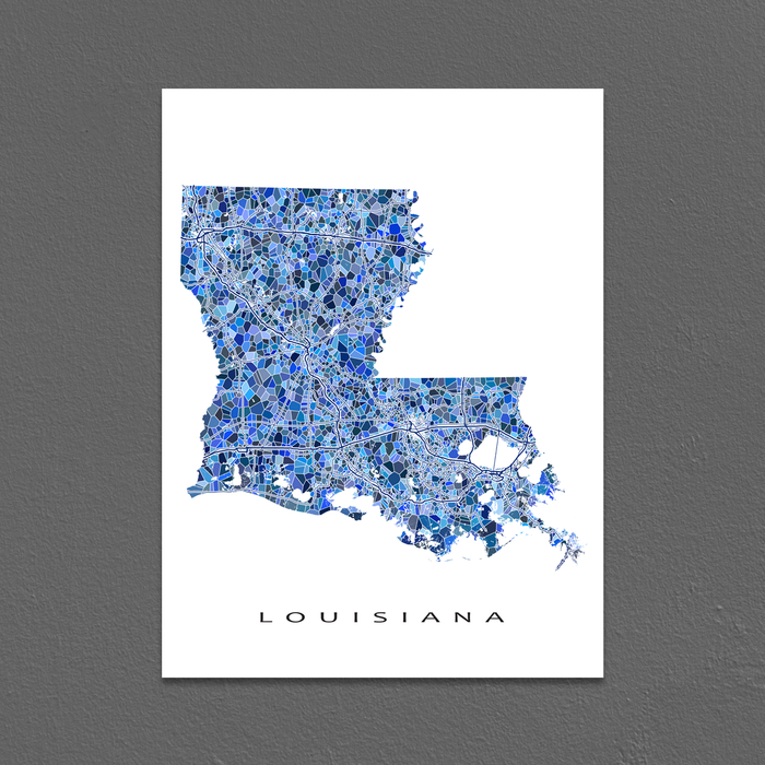 Louisiana Map Print, LA State